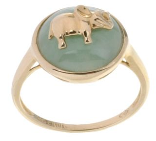 14 kt. Gold & Green Jade Elephant Ring