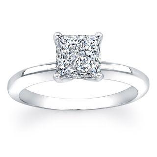 Anillo de compromiso de oro blanco 14 K, con diamante solitario de 1