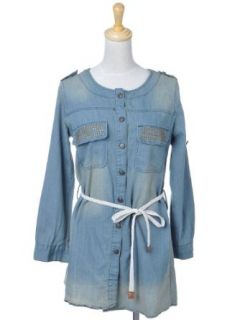 Anna Kaci S/M Fit Blue Sandblasted Denim L/S Buttoned