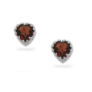 Sterling Silver Garnet 8 mm Heart shaped Stud Earrings