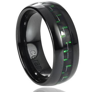 Daxx Ceramic Green Carbon Fiber Inlay Band (8 mm)