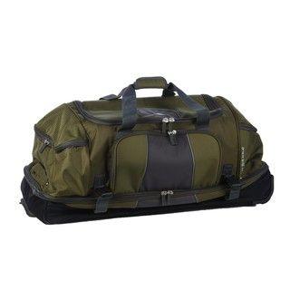 High Sierra Green Elevate 34 inch Rolling Drop Bottom Duffel Bag