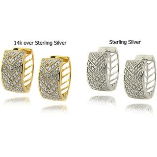 Sterling Silver Diamond Accent V Hoop Earrings