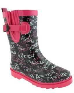 Shiny Graffiti Printed Girls Sporty Rainboot Black Combo 10/11 Shoes