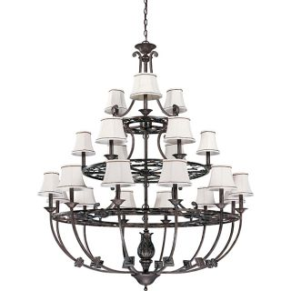 Pickford Chandelier 21 light Distressed Bronze Finish with Natural