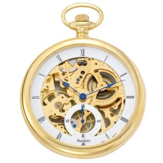 Avalon 17 jewel Mechanical Skeleton Goldtone Pocket Watch with Chain