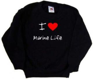 I Love Heart Marine Life Black Kids Sweatshirt Clothing
