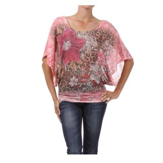 Tabeez Womens Pink Floral Print Top with Rhinestones