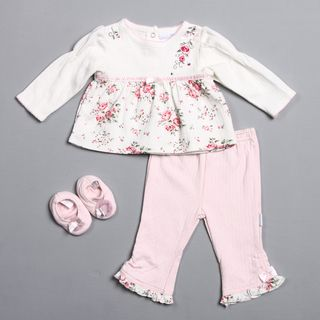 Vitamins Baby Newborn Boys Rose and Floral Pant and Shoe Set