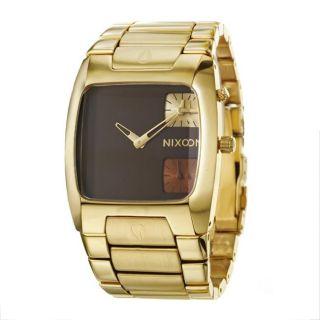 Nixon Mens The Banks Goldplated Steel Dual Time Zone Quartz Watch
