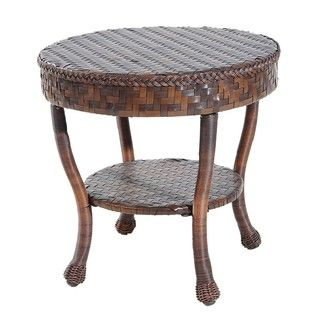 Outdoor Wicker Patio Round End Table