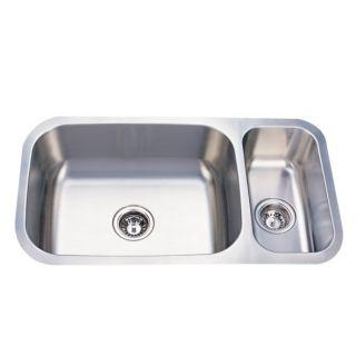 Elongated 32 inch Stainless Steel Undermount Dual Kitchen Sink