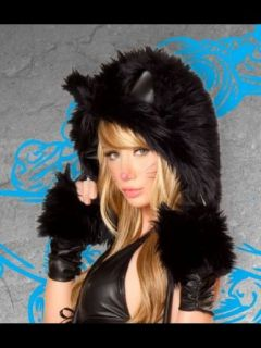 Black Cat Costume Gloves   ONE SIZE Clothing