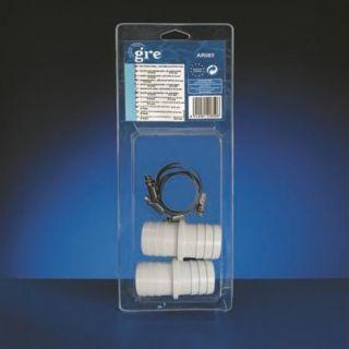 BUSE   SKIMMER 2 raccords tuyaux diam 38 + 4 colliers de serrage