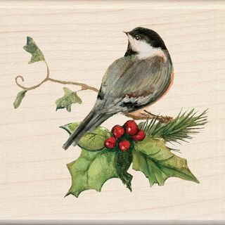 Inkadinkado Christmas Mounted Rubber Stamp  Chickadee 2.75X2.75