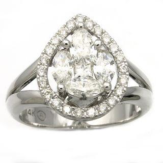 Beverly Hills Charm 14K White Gold 1ct TDW Pear Shape Diamond Ring