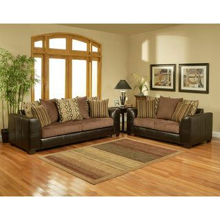 Journey Fabric Chocolate 2 piece Sofa Set