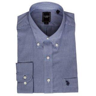 Polo Association Mens Blue Houndstooth Dress Shirt