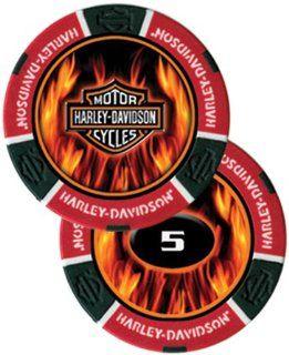 Harley Davidson Flame Poker Chip Red   Sleeve of 25
