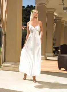 Satin Pleated Long Gown (Ivory;Small/Medium) Clothing