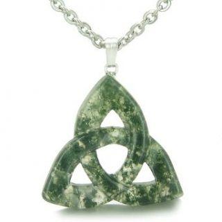 Celtic Triquetra Knot Magic Amulet Green Moss Agate Good
