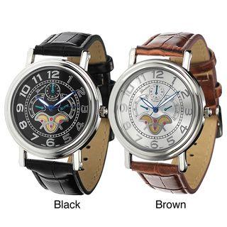 Geneva Platinum Mens Leather Band Watch