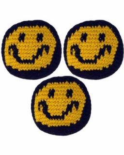 Set of 3 Hacky Sacks, Smiley Face: Sports & Outdoors