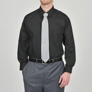 Alexander Julian Colours Mens Black Dress Shirt and Neat Tie Set