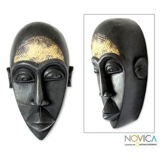 Handcrafted Sese Wood Beninese Fortuneteller African Mask (Ghana