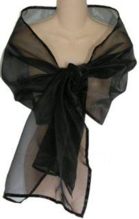 Black Sheer Organza Evening Wrap Shawl for Prom Wedding