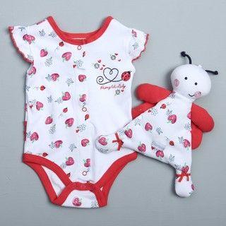 Vitamins Baby Newborn Girls White Bodysuit and Blanket Set