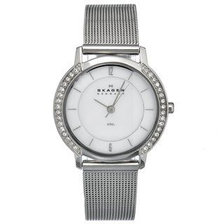 Skagen Womens Stainless Steel Mesh Crystal Watch