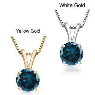 14K Gold 3/4ct, 1ct, 1 1/2ct TDW Round Blue Diamond Solitaire Necklace