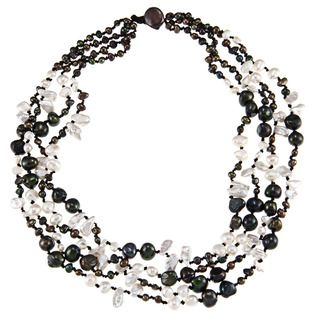 Peacock and White Freshwater Pearl Multi strand Necklace (4 11 mm