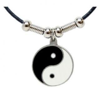 Yin Yang Pendant   Beaded Black Leather Necklace Clothing