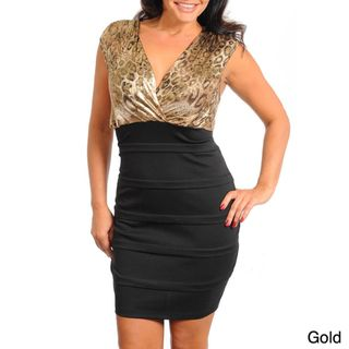 Stanzino Womens Plus Animal Print Two tone Dress