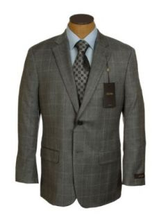 Tasso Elba Mens 2 Button Gray Windowpane Silk Wool Sport