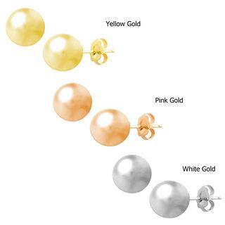 Fremada 14k Gold 4 mm Ball Earrings (White, Pink, or Yellow