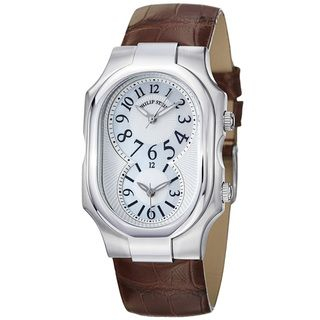 Philip Stein Womens Signature Mother Of Pearl Brown Strap Watch