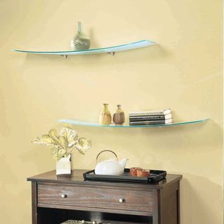 Concavo Clear Glass 8 inch x 40 inch Shelf Kit with Brackets