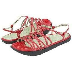 Earth Sizzle Red Crinkle Patent Leather Sandals