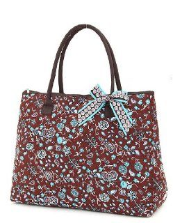 Belvah Extra Large Quilted Paisley Tote Handbag Brown/Turquoise Shoes