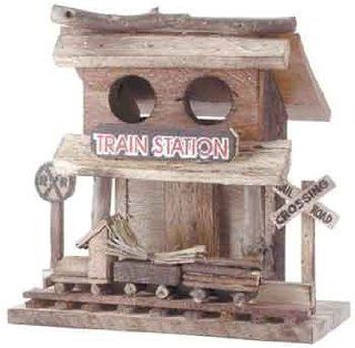 Train Station Wood Depot Birdhouse Bird House Crossing