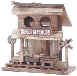 Train Station Wood Depot Birdhouse Bird House Crossing