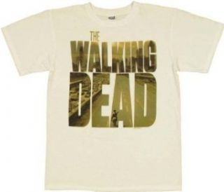 Walking Dead Zombie Poster Logo T Shirt (Large) Clothing