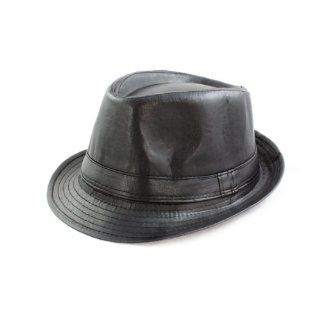 Fashion Wear Fedora Hat in Solid Black Faux Leather Design Shoes