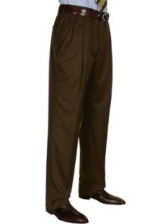 Berle Mens Pleated Dress Pants Brown Worsted Wool Trousers