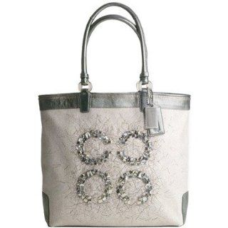 Audrey Editorial Jeweled Large Slim Tote 17022 (Natural/Silver) Shoes