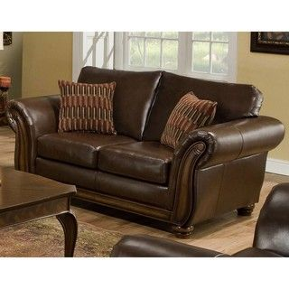 Simmons Santa Monica Vintage Brown Leather Loveseat