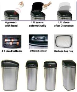Infra Red Hands free 13 gallon Steel Trash Can